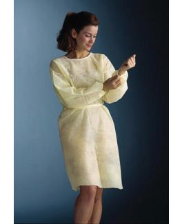 360° Wrap-Around? Isolation Gown, Non-Woven, One Size Fits Most, Yellow, 25/cs (36 cs/plt)