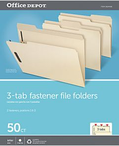 Office Depot Brand Reinforced Manila Folder With 2 Embossed Fasteners, 1/3-Cut Tabs, Letter Size, Box Of 50