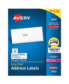 "Avery Easy Peel® White Laser Address Labels, 5960, 1"" x 2 5/8"", Box Of 7,500"
