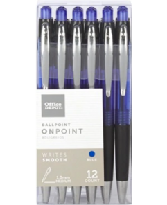 OFFICE DEPOT SOFT-GRIP RETRACTABLE BALLPOINT PENS, MEDIUM POINT, 1.0MM, BLUE BARREL, BLUE INK, PACK OF 12