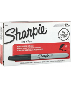 SHARPIE FINE POINT PERMANENT MARKERS, GREY BARREL, BLACK INK, PACK OF 12