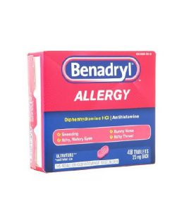 Allergy Relief Benadryl® 25 mg Strength Tablet 48 per Box