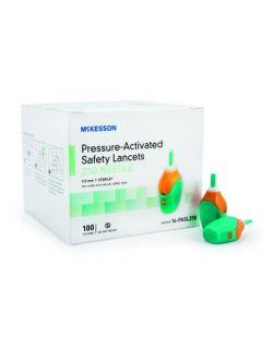 Safety Lancet McKesson Fixed Depth Lancet Needle 2.0 mm Depth 21 Gauge Pressure Activated