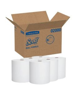 Hard Roll Towels, White, Orange Plug, 8 x 580 ft, 6 rl/cs