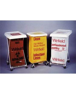 Laundry & Linen Bags, LLDPE Film, 30½ x 41, Print: Infectious Linen, Biohazard, Biohazard Symbol, Color: Yellow/ Red, 1.1 Mil, 20-30 Gal, Coreless Roll, 25/rl, 10 rl/cs