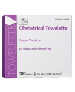 Obstetrical Towelette, 7.75 x 5, 1/pk, 100 pk/bx, 10 bx/cs (63 cs/plt) (US Only)