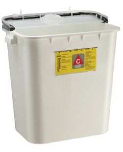 Chemo Container, 8 gal, White, 10/cs