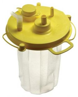 Suction Liner, 1500cc, Yellow Lid, Float Valve Shutoff, Aerostat Filter, Anti-Reflux Valve Included, Individually Bagged, 50/cs