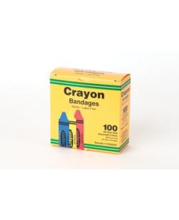 Crayola Bandages, ¾ x 3 Strips, Latex Free (LF), Assorted (red, yellow & blue), 100/bx, 12 bx/cs