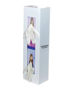 Glove Box Dispenser, Double, Space Saver, Holds Two Boxes of Gloves (End-to-End), Two-Way Keyholes For Vertical or Horizontal Wall Mounting, White Powder Coated Steel, 5 5/8W x 20 1/16H x 3 15/16D, 4/cs (Made in USA)