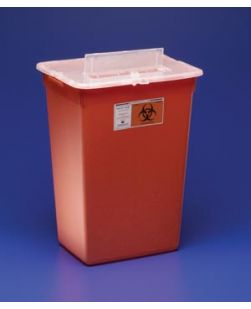 Container, 10 Gal, Red, Split Lid, Sharps Port, Large Volume, 15½H x 12D x 21½W, 6/cs (15 cs/plt) (Continental US Only)