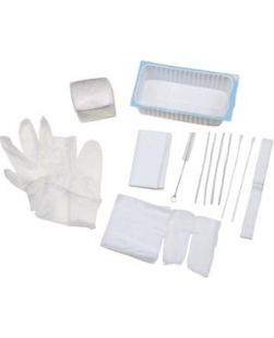 Tracheostomy Care Tray Contains: 2-Compartment Tray, Removable Inner Tray, Cleaning Brush, (4) 4x4 Gauze Sponges, Pipe Cleaner, Vinyl Gloves, (2) Cotton-Tip Applicators, Twill Tape, Trach Dressing, Waterproof Drape, 20/cs