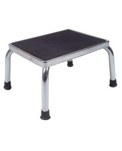 Foot Stool, 14L x 11D x 9H, Heavy Duty Powder-Coated Steel Tubular Legs, Rubber Tip Ends, Non-Slip Rubber Treaded Step, 2/cs