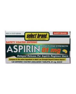 Aspirin Enteric Coated, Low Dose, 120s, Compare to Adult Low Strength Bayer® Enteric Aspirin, 24/cs (UPC01512700217) (Continental US Only)