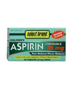 Aspirin Tablet, Childrens Chewable, Compare to Active Ingredients in Childrens Bayer® Aspirin, 81mg, 36s, 24/cs (UPC01512700440) (Continental US Only)