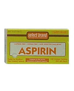 Aspirin Tablet, 325mg, Compare to Active Ingredients of Bayer® Aspirin,  100s, 24/cs (UPC01512700001) (Continental US Only)