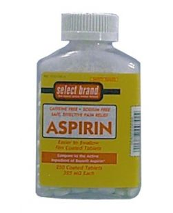 Aspirin Tablet, 325mg, 250s, Compare to Active Ingredient of Bayer® Aspirin, 12/cs (UPC01512700792) (Continental US Only)