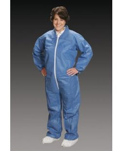Coveralls, 2X-Large, Blue, Elastic Wrist, Ankle & Back, 25/cs