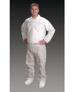 Coveralls, 2X-Large, White, Elastic Wrist, Ankle & Back, 25/cs