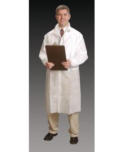 Frock Lab Coat, 2X-Large, White, Elastic Wrist, Snap Collar, Snap Close, 30/cs
