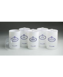 Opaque Plastic Sundry Jars, Blue Imprint, Plastic Lids, 6½H x 4¼Dia, 5/set, 1 set/cs
