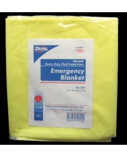 Emergency Blanket, 54 x 80, Yellow, Heavy Duty Fluid Impervious, 1/bg, 50 bg/cs