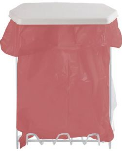 Bag Dispenser, Holds 1-Gallon Bags, White Powder Coated Wire, 9½W x 12 7/8H x 6¼D, Screw Holes For Wall Mounting, 12/cs (Made in USA)