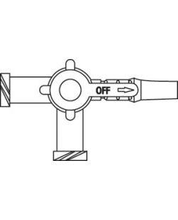 Three-Way Stopcock, 2 Female Luer Lock Ports & Male Luer Slip Adapter, Port Covers, Lipid Resistant, DEHP, Latex Free (LF), 100/cs