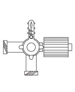 Four-Way Stopcock, 2 Female Luer Lock Ports & SPIN-LOCK® Adapter, Port Covers, Lipid Resistant, DEHP, Latex Free (LF), 100/cs
