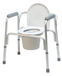 3-in-1 Aluminum Commode, Removable Back Bar, 4/cs