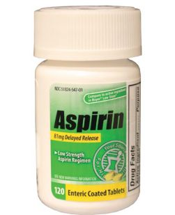 Aspirin, Adult, Low Dose 81mg, Enteric Coated Tablets, 120/btl, 24 btl/cs, Compare to the Active Ingredient in Bayer® Low Dose (Not Available for sale into Canada)
