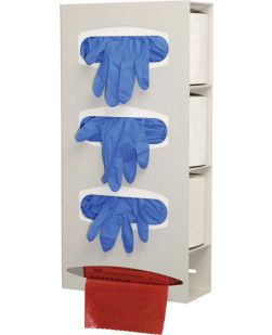 Triple Glove & Single Roll Bag Dispenser, Holds Three Boxes of Gloves & One Roll of Bags (Up to 9L), Keyholes For Wall Mounting, Quartz ABS Plastic, 10 1/8W x 20 3/8H x 3 15/16D, 3/cs (Made in USA)