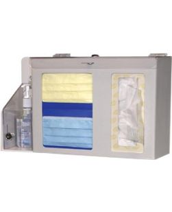 Respiratory Hygiene Station Locking Holds Two Boxes of Face Masks 1-2 Boxes of Facial Tissues  1 Han