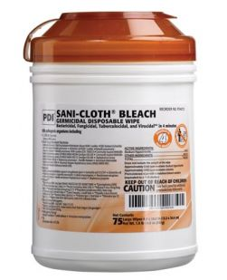 Bleach Germicidal Disposable Wipe, Large, 6 x 10½, 75/canister, 12 can/cs (30 cs/plt) (Minimum Expiry Lead is 60 days) (US Only)