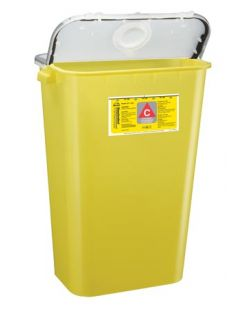 Chemo Container, 11 Gal, Yellow, 6/cs