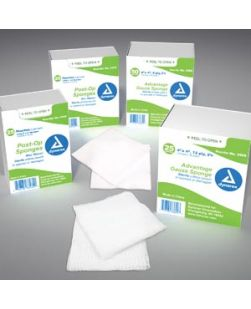 Post-Op Sponge, 4 x 3, 4-Ply, Non-Woven, 2/pch, 25 pch/tray, 24 trays/cs