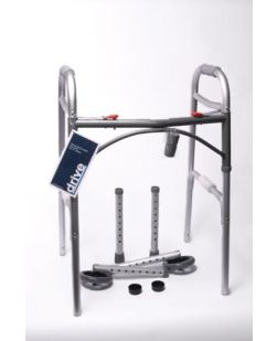 Folding Walker, Adult, Flame Blue Crossbrace, 5 Wheels, 4/cs