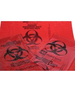 Autoclavable Biohazardous Waste Bag, 12 x 24, Red/ Black, 100/cs