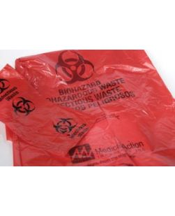 Contaminated Laundry Bag with Biohazard Symbol, 38 x 50, Yellow/ Black, Low Density, 2 mil, 44 Gal, 100 rl/cs