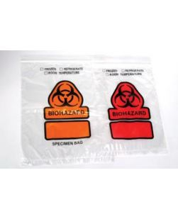 3-Wall Specimen Bag, Seal n Rip, Removable Biohazard Symbol, Blue Tint, 1.8 mil, 6 x 10, 100 bg/pk, 10 pk/cs
