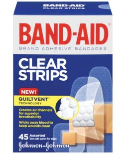 Adhesive Bandage, Assorted Clear, 45/bx, 24 bx/cs