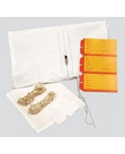 Pediatric Cadaver Bag, 28 x 46, White, Straight Zipper, 3 White & 3 Yellow ID Tags, Plus 1 Chin Strap, 2 Cellulose Pads, 2-60 Ties, 3-36 Ties & Instruction Sheet, 5 mil Vinyl, 10/cs