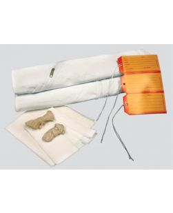 Adult Cadaver Bag, 36 x 90, White, Curved Zipper, 3 White & 3 Yellow ID Tags, Plus 1 Chin Strap, 2 Cellulose Pads, 2-60 Ties, 3-36 Ties & Instruction Sheet, 5 mil Vinyl, 10/cs