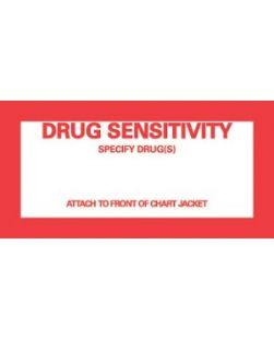 Drug Sensitivity Patient Chart Labels, 2¼ x 4½, White, 1,000/bx