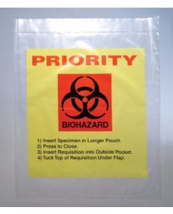 3-Wall Specimen Transfer Bag, Reclosable, Biohazard with PRIORITY Print, 2 mil, 12 x 15, 1000/cs