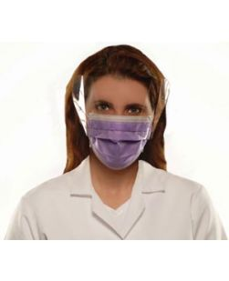 Earloop Face Mask, Anti-Fluid, Anti-Fog with Shield, Lavender, 25/bx, 4 bx/cs