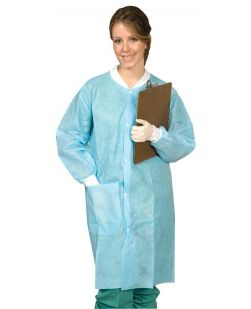 Disposable Lab Coat, Blue, Medium, 10/bg, 5 bg/cs