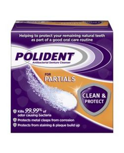 Polident® Antibacterial Cleanser for Partials, 40 tablets/box, 6 boxes/pkg, 2 pkg/cs (12 -40ct boxes total) (Available for sale in US only) GSK# 03310A (Products cannot be sold on Amazon.com or any other third Party sites.)