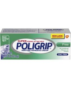 Super Poligrip® Free Denture Adhesive Cream Travel Size, 0.75 oz. tube, 12/pkg, 4 pkg/cs (48 tubes total) (Available for sale in US only) GSK# 06214 (Products cannot be sold on Amazon.com or any other third Party sites.)