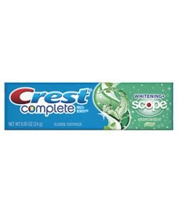 Crest Complete Toothpaste, Whitening with Scope, .85 oz, 72/cs